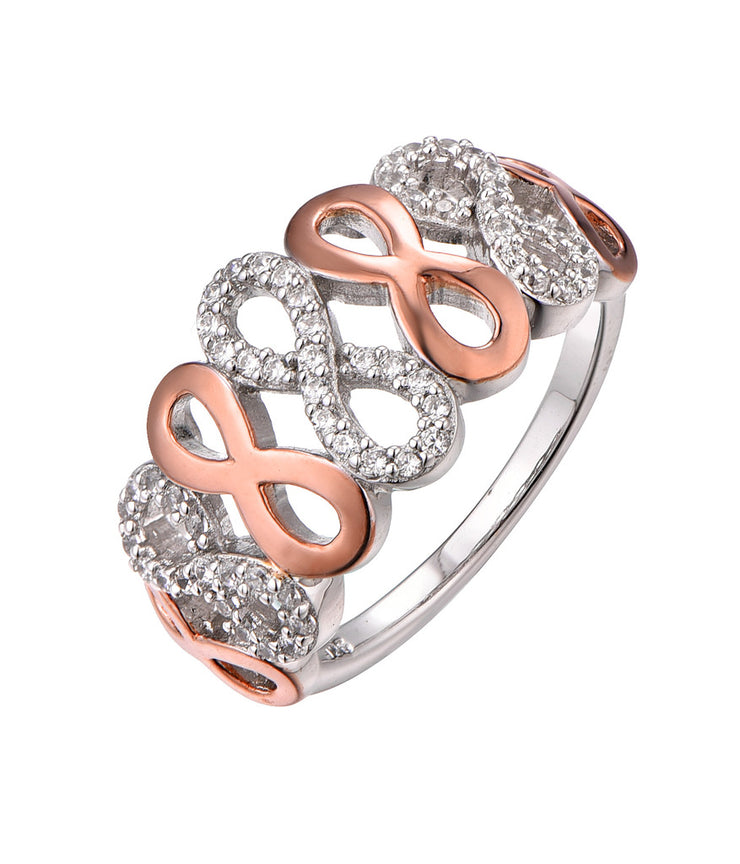 Rose Gold CZ Infinity 925 Sterling Silver Ring HR12203E