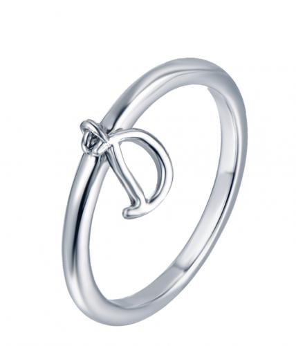 Rhodium Letter Fashion 925 Silver Jewelry Ring HR13808C