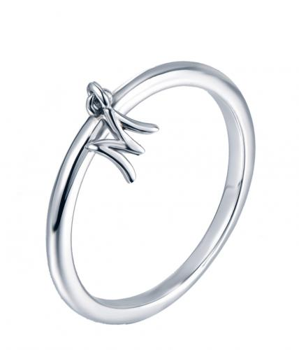 Rhodium Letter Fashion 925 Silver Jewelry Ring HR13907C