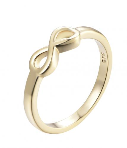 Yellow Gold Infinity 925 Sterling Silver Ring HR15308E