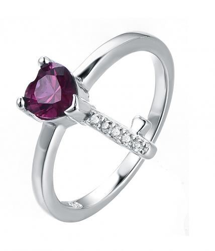 Rhodium Ruby Key Fashion 925 Silver Jewelry Ring HR31503A