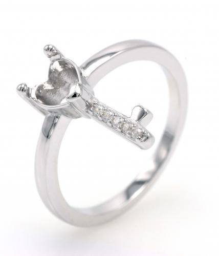 Rhodium CZ Key Fashion 925 Silver Jewelry Ring HR31503B