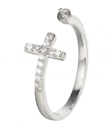 Rhodium CZ Cross 925 Sterling Silver Ring HR32601B