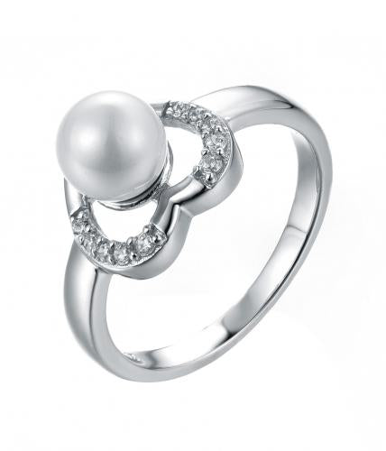 Rhodium Pearl Heart 925 Sterling Silver Ring HR32709A