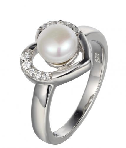 Rhodium Pearl Heart 925 Sterling Silver Ring HR32709B