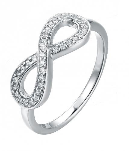 Rhodium CZ Infinity 925 Sterling Silver Ring HR37007A