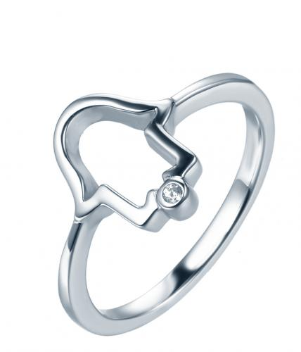 Rhodium CZ Character 925 Silver Jewelry Ring HR37409A