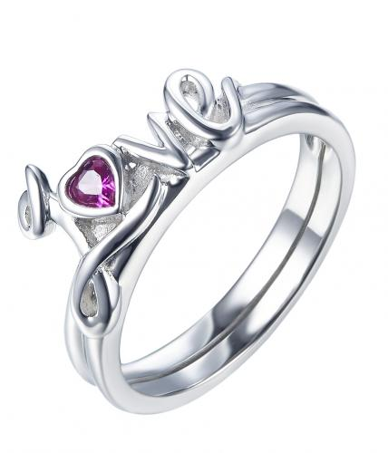 Rhodium Ruby Letter Stackable 925 Silver Jewelry Ring HR37903A