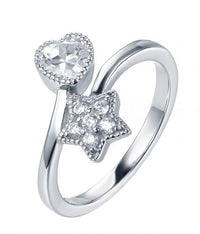 Rhodium CZ Star Fashion 925 Sterling Silver HR38304A