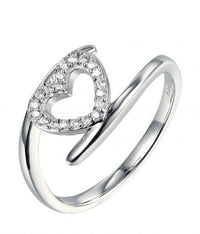 Rhodium CZ Twist Heart Fashion 925 Sterling Silver HR38604A