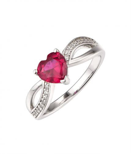 Rhodium Ruby Stackable Heart Stackable 925 Sterling Silver Ring HR38605D