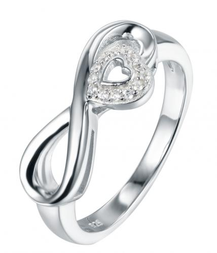 Rhodium CZ Infinity 925 Sterling Silver Ring HR38702A