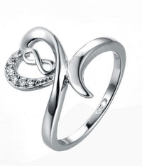 Rhodium CZ Twist Heart 925 Sterling Silver Ring HR39205A