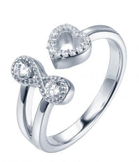 Rhodium CZ Heart 925 Sterling Silver Ring HR39308A
