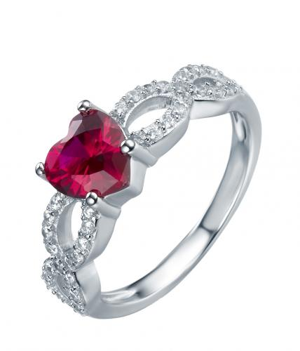 Rhodium Ruby Stackable Heart Stackable 925 Sterling Silver Ring HR39702A