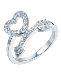 Rhodium CZ Twist Heart Fashion 925 Sterling Silver HR40209A