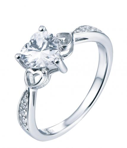 Rhodium CZ Stackable Heart Stackable 925 Sterling Silver Ring HR40504D