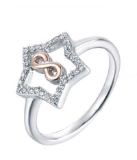 Rhodium CZ Star Fashion 925 Silver Jewelry Ring HR41503A