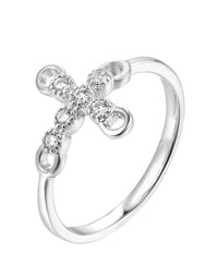 Rhodium CZ Cross 925 Sterling Silver Ring HR42000B