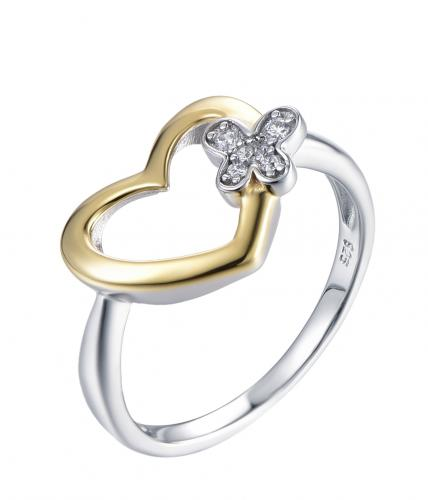 Yellow Gold CZ Heart 925 Sterling Silver HR42001A