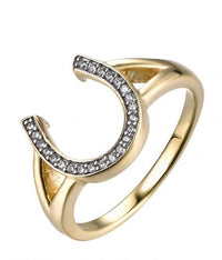 Yellow Gold CZ Horseshoe Fashion 925 Silver Jewelry Ring HR42207A