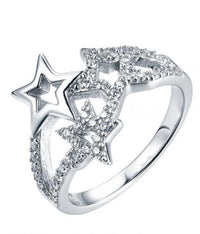 Rhodium CZ Twist Star Fashion 925 Silver Jewelry Ring HR42308A
