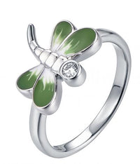 Rhodium Enamel Dragonfly Animal 925 Silver Jewelry Ring HR42507A