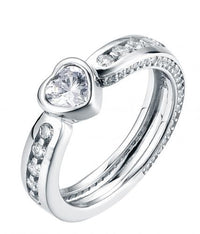 Rhodium CZ Eternity Wedding 925 Sterling Silver HR43206A