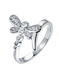 Rhodium CZ Twist Dragonfly Animal 925 Silver Jewelry Ring HR43306A
