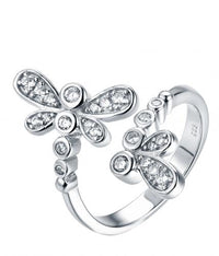 Rhodium CZ Twist Dragonfly Animal 925 Silver Jewelry Ring HR43307A