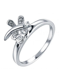 Rhodium CZ Dragonfly Animal 925 Silver Jewelry Ring HR43702A