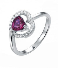 Rhodium Ruby Stackable Heart Stackable 925 Sterling Silver Ring HR44803A