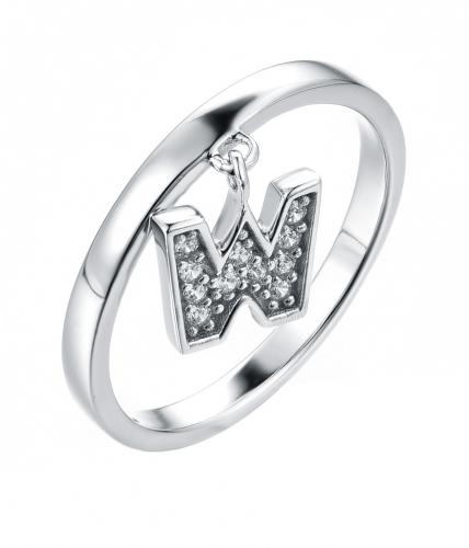 Rhodium CZ Letter Fashion 925 Silver Jewelry Ring HR44908A