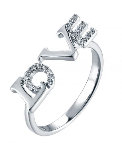 Rhodium CZ Letter Fashion 925 Silver Jewelry Ring HR46008A
