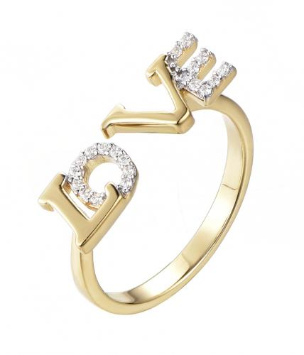 Yellow Gold CZ Letter Fashion 925 Sterling Silver Ring HR46008D