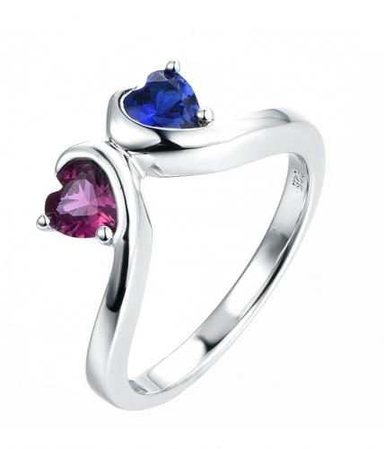 Rhodium Spinel Twist Heart 925 Sterling Silver Ring HR47805A