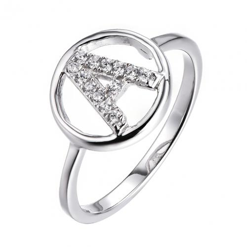 Rhodium CZ Letter Fashion 925 Sterling Silver Ring HR49906A