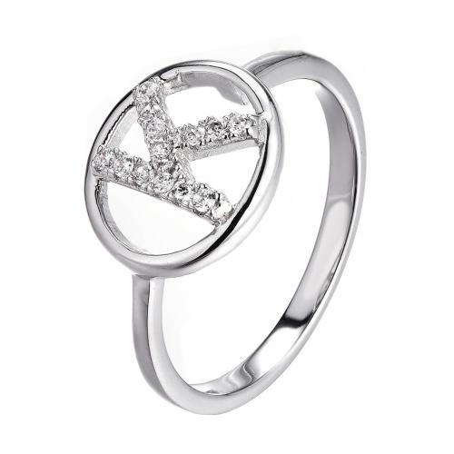 Rhodium CZ Letter Fashion 925 Sterling Silver Ring HR49908A