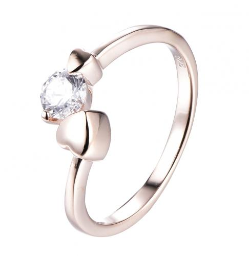 Rhodium CZ Twist Heart 925 Sterling Silver Ring HR50107A