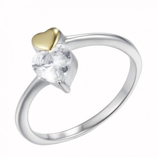 Yellow Gold CZ Heart 925 Sterling Silver HR50206A