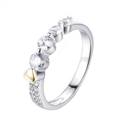 Yellow Gold CZ Eternity Wedding 925 Sterling Silver HR50302A