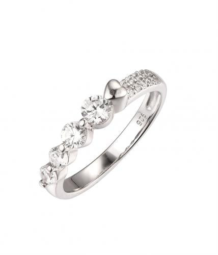 White Gold CZ Eternity Wedding 925 Sterling Silver HR50302B