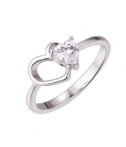Rhodium CZ Heart 925 Sterling Silver HR50604C