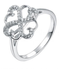 Rhodium CZ Clover Fashion 925 Sterling Silver Ring HR50704A