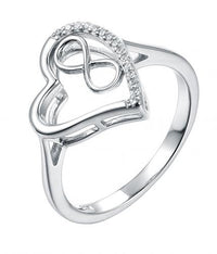 Rhodium CZ Heart 925 Sterling Silver Ring HR50705A
