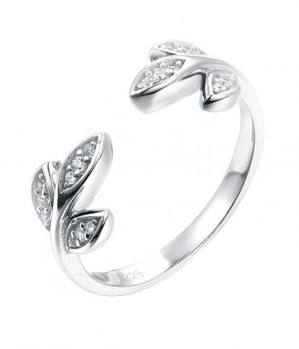 Rhodium CZ Leaf Fashion 925 Sterling Silver Ring HR51209A