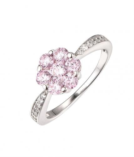 Rhodium Gemstone Halo Flower Engagement 925 Silver Jewelry Ring HR51506B