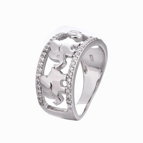 Rhodium CZ Elephant Animal 925 Sterling Silver Ring HR52108A