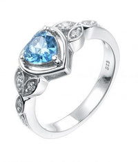 Rhodium Sapphire Heart Stackable 925 Sterling Silver HR52408A