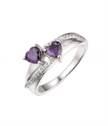 Rhodium Amethyst Stackable Heart 925 Sterling Silver Ring HR63203A